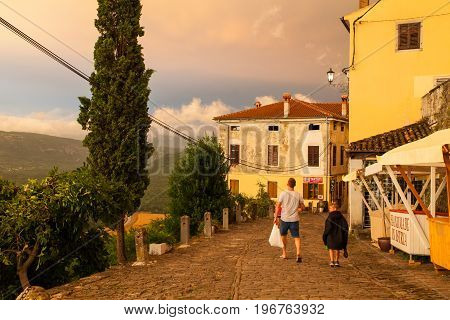 MOTOVUN CROATIA - JULY 12: View of Motovun town street at sunset on July 12 2017