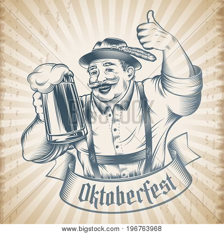 Man holding beer glass with lager on Oktoberfest. Traditional German Bavarian clothes hat pants straps. The thumbs-up gesture. Vector print from retro hand drawing ink tattoo on vintage background
