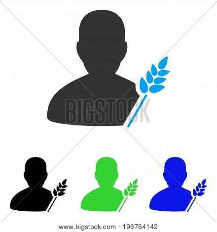 Agriculture Farmer vector icon. Style is flat graphic agriculture farmer symbol using some color variants.