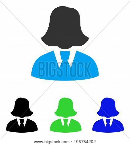 Business Lady vector icon. Style is flat graphic business lady symbol using some color variants.