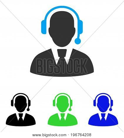Call Center Manager vector pictograph. Style is flat graphic call center manager symbol using some color variants.