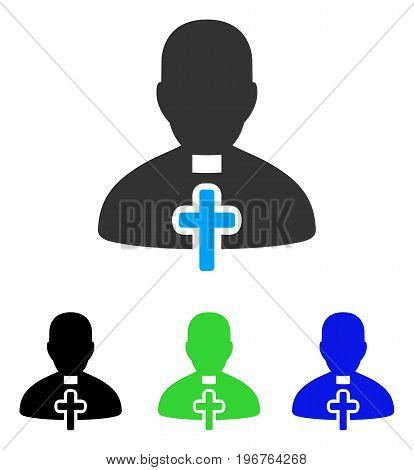 Catholic Priest vector icon. Style is flat graphic catholic priest symbol using some color variants.