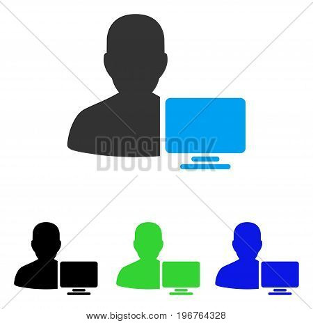 Computer Administrator vector pictogram. Style is flat graphic computer administrator symbol using some color variants.