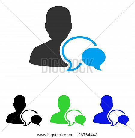 Forum Moderator vector icon. Style is flat graphic forum moderator symbol using some color variants.