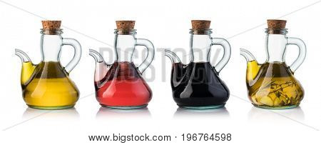 Bottle of olive oil and vinegar isolated on white background
