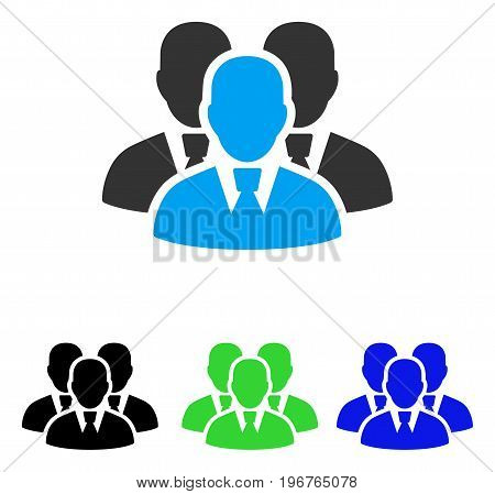 Manager Group vector pictogram. Style is flat graphic manager group symbol using some color variants.