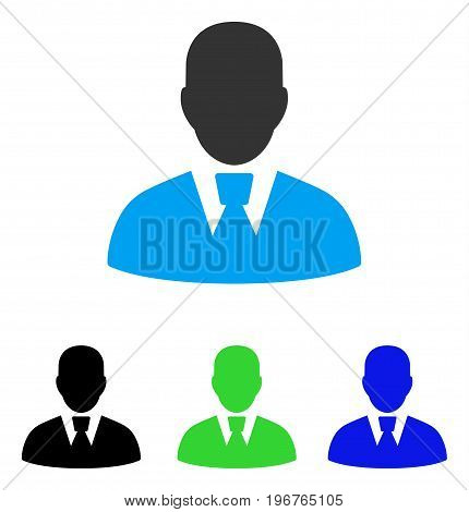 Manager vector pictogram. Style is flat graphic manager symbol using some color variants.