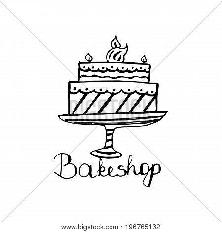 Bakeshop Logo Design. An Idea For Cafe, Bakeshop, Maffin Shop, Desserts. Hand Drawn Design.