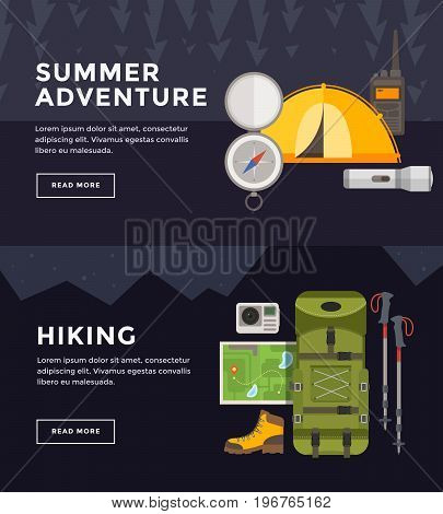 Set vector banners on theme of hiking tourism. Outfit of traveler. Sports, adventures in nature, outdoor recreation.