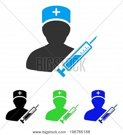 Medic vector pictogram. Style is flat graphic medic symbol using some color variants.
