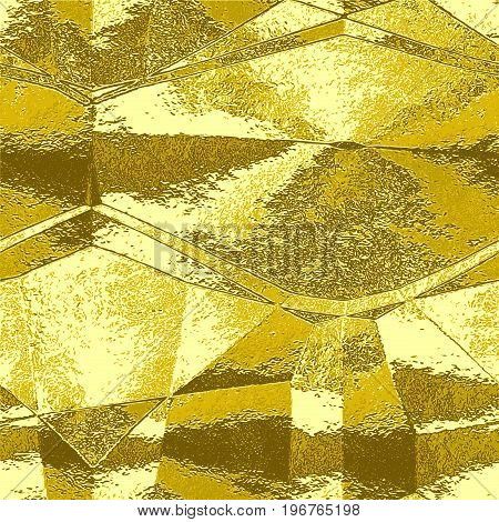 Abstract gold wavy pattern resembling brushed metal foil. Gold brown and yellow metal scratched folded texture