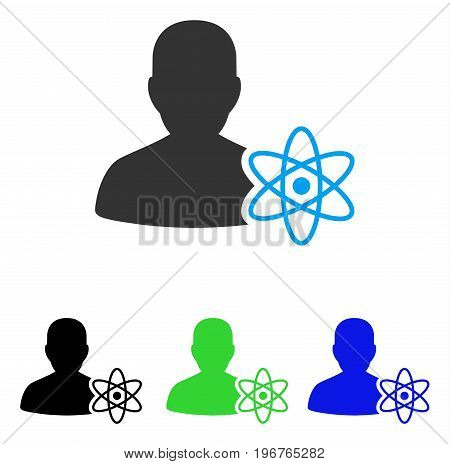 Physicist Science vector pictograph. Style is flat graphic physicist science symbol using some color variants.