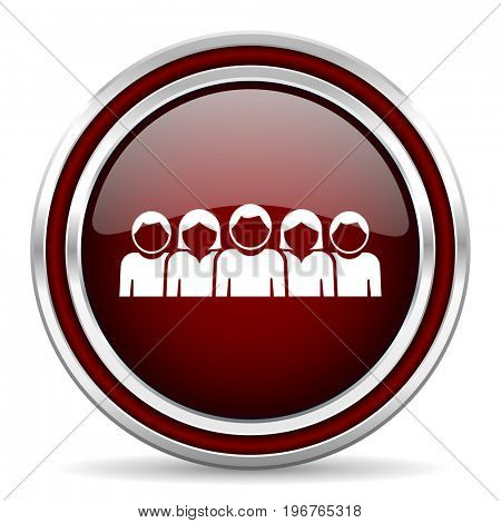 People red glossy icon. Chrome border round web button. Silver metallic pushbutton.