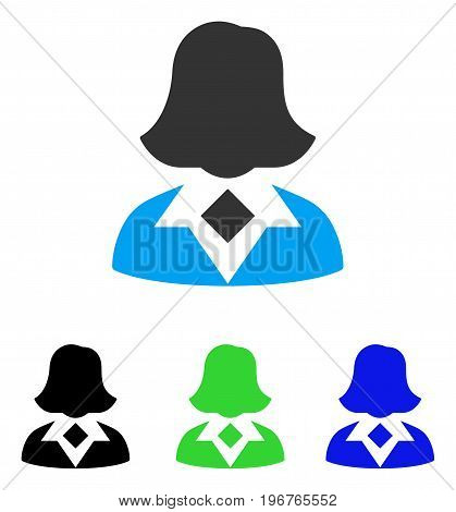 Woman vector pictogram. Style is flat graphic woman symbol using some color variants.
