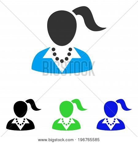 Woman vector pictograph. Style is flat graphic woman symbol using some color variants.