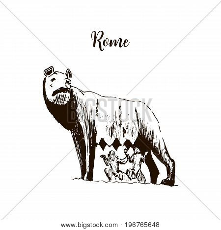 Capitoline Wolf. she-wolf. Rome symbol. Beautiful hand drawn vector sketch illustration. Italy. legend, romulus, remus, twins, For prints, textile, advertising, poster, label, urban, tourism, postcard poster