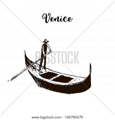 Gondola. Venice symbol. Boat. Beautiful hand drawn vector sketch illustration. Italy. For prints, textile, advertising, City panorama, tourism, postcard