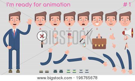 Vector businessman character for creating scenes. Creation of a character with different kinds, emotions of the face, lip synchronization, poses and gestures. Parts of the body template for animation and design. Vector illustration in a flat style.