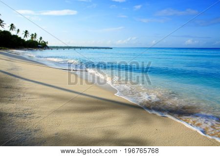 Beautiful caribbean sea and blue sky . Sommer ocean landscape as background.