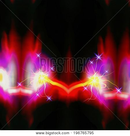 Abstract glowing blurred background with electrical discharge and sparks. Red, pink, yellow, purple and white background with rays and flames. Abstract dark background with flashing lights and excited particle