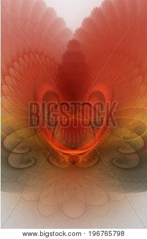 Abstract fractal background with scalloped structure resembling feathers with stylized heart. Red, gold, white and gray glowing fractal background