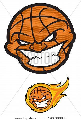 basketball ball with angry cartoon face on white