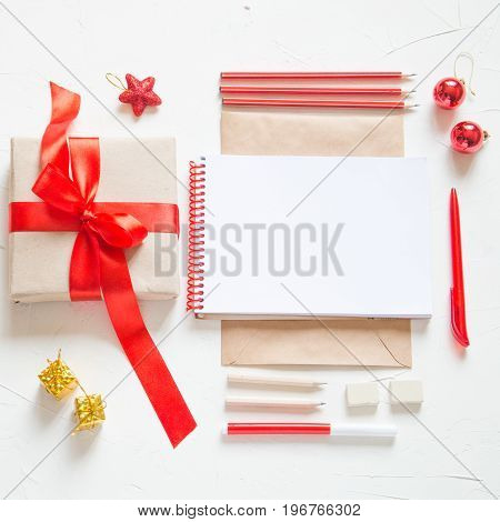 Supplies for writing a letter or holiday card.