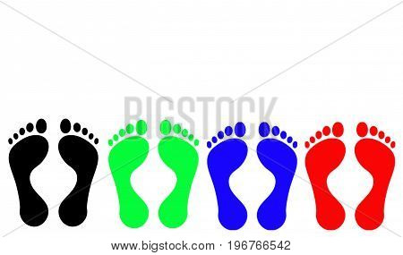 Footprints: Black, Green, Blue, Red. White background