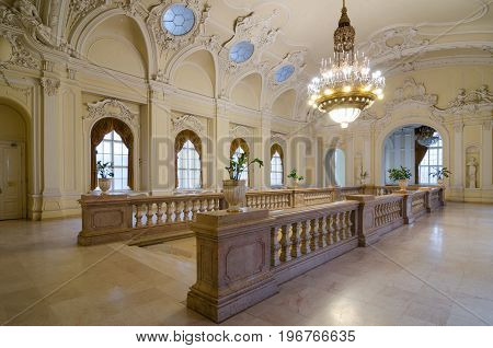 BUDAPEST, HUNGARY - FEBRUARY 23, 2016: The interior of the castle Vajdahunyad in Budapest, Hungary. In one of the halls there is an exhibition of the Museum of agriculture.