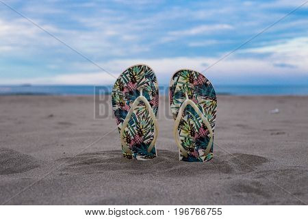 Beach Slippers, Stoned To Small Sands, In The Background Sea, Sun, Summer, Beach