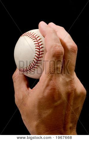 Man's hand holding a baseball in a pitching grip against black background poster