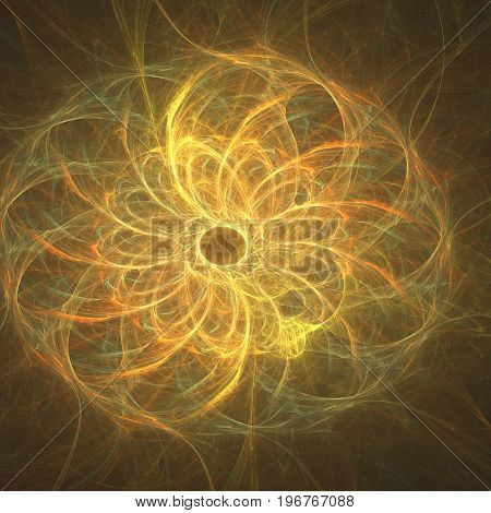 Abstract yellow fractal shapes concept of science
