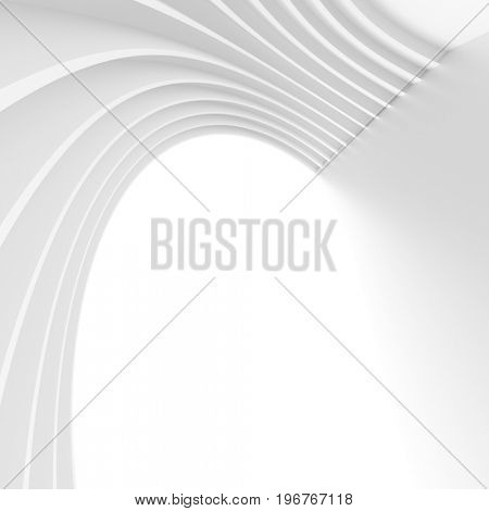 Abstract Technology Wallpaper. White Tunnel Background. 3d Illustration
