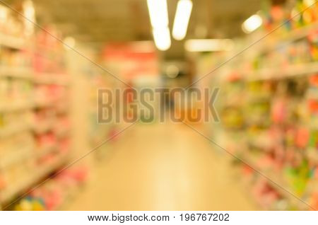 Abstract blur store shelves with fruit for background