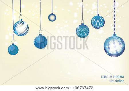 Vector blue and vivid xmas background abstract. Christmas ball snow ornaments set isolated. Christmas decoration with xmas lights and bokeh. New year blue decoration background.