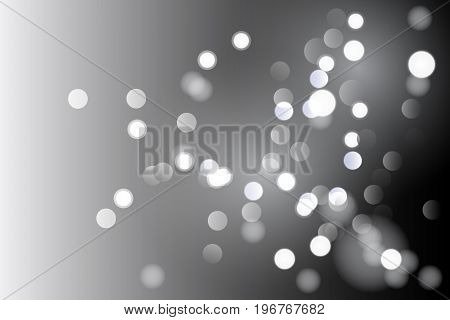 Vector illustration abstract black and whitebackground with magic blur bokeh light effect. Christmas and new year 2018 template.