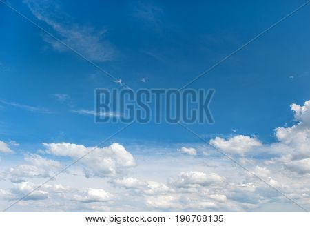 Cloudy blue sky. Beautiful nature background. Environment concept