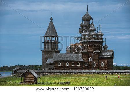 Kizhi Island, Russia. Ancient wooden religious architecture. Summer landscape