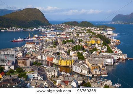 view of Alesund from Fjellstua viewpoint, Norway