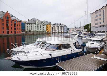 houses of Alesund town Norway