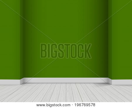 Vector Bright Modern Interior - white wooden floor and green colored wall background with corners