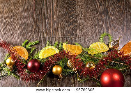 2018 New year and christmas background. Sparkle magic snow. Joyeux Noel. Christmas tree toys. Xmas gift box. Selective soft focus. Retro.