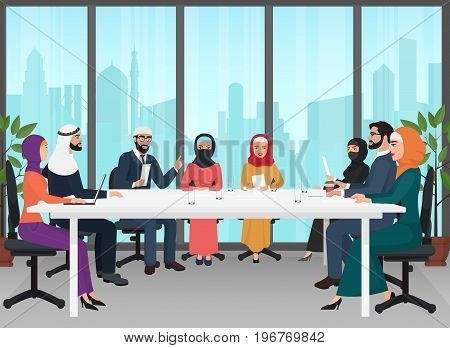 Arab business people discussing meeting modern office desk. Muslim conference flat cartoon vector Illustration