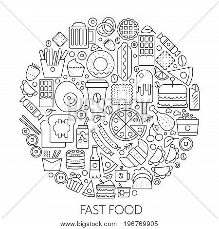 Fast food icons in circle - concept line vector illustration infographic for cover, emblem, badge. Outline icon set