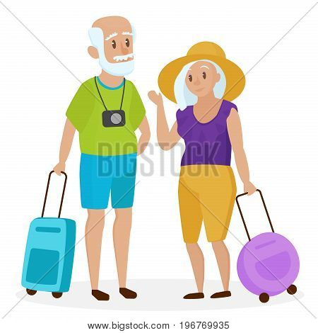 Old people tourists with suitcases. Happy grandparents travelers. Grandpa and grandma. Elderly couple traveling. Cartoon vector illustration