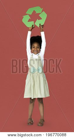 African Descent Girl holding Recycle Sign