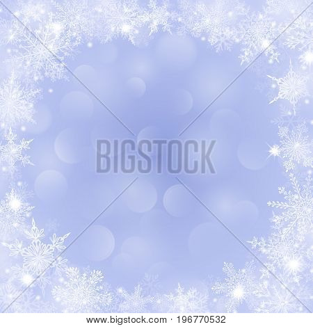 Christmas Background With Frame Of Snowflakes And Bokeh Effect