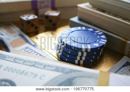 Gambling Stock Photo With Money And Poker Chips High Quality