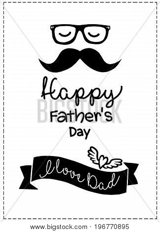 I Love Dad ,happy Fathers Day Greeting. Concept For Flyer, Banner, Invitation, Congratulation Or Pos