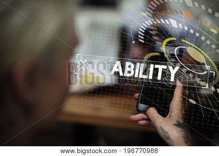 Woman using smart phone ability word graphic word